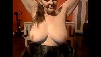 with granny toilet brush Guy jerks on my wife stockings