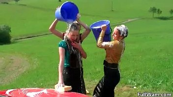 the in wet get sluts lesbo pool clothed Wife flashing truck drivers